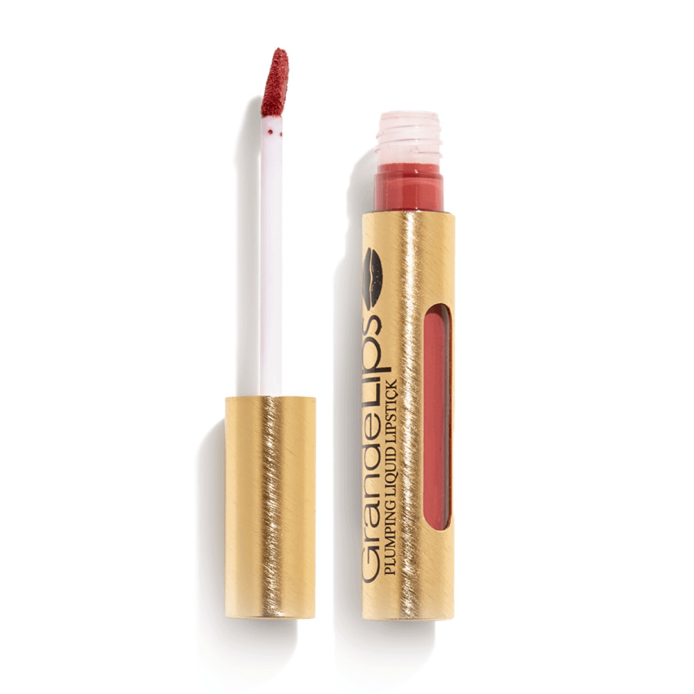 GrandeLIPS Plumping Liquid Lipstick, Semi-Matte in Strawberry Rhubarb